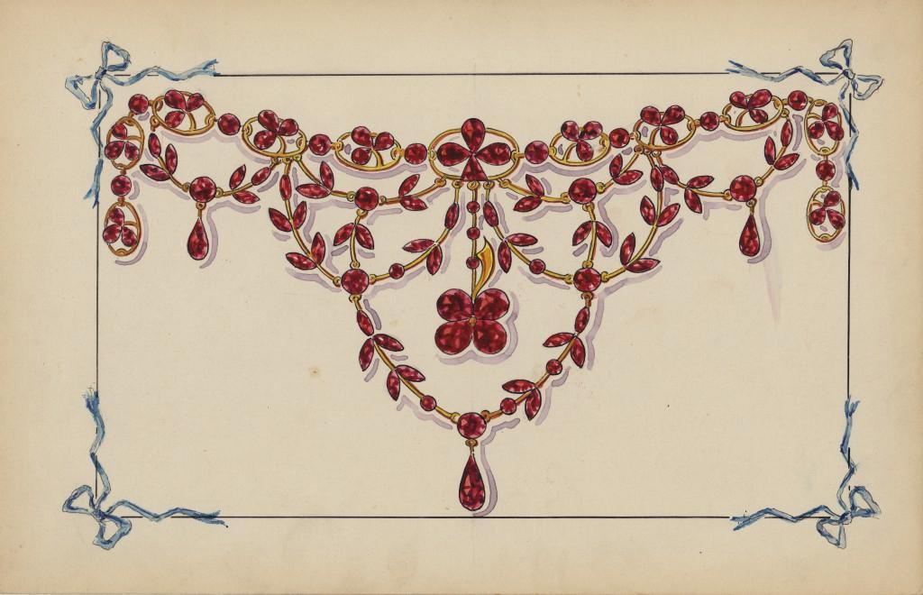 Gouache préparatoire du collier, archives Velzy, vers 1900.