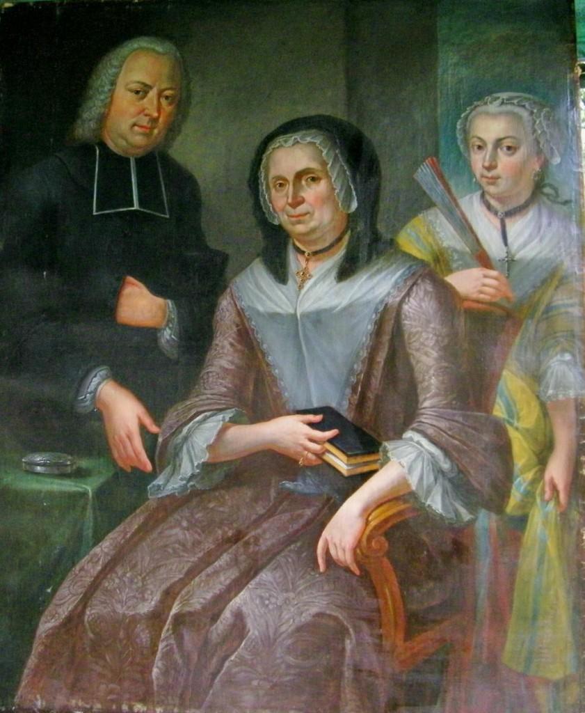 Portrait d'une femme, de sa fille et de leur confesseur.