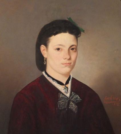 Portrait de jeune perpignanaise, vers 1872, signé Leclerc.