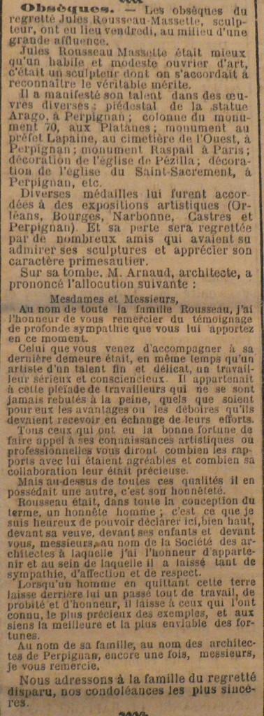 obsèques Jules Rousseau Massette, l'Indépendant 1905.