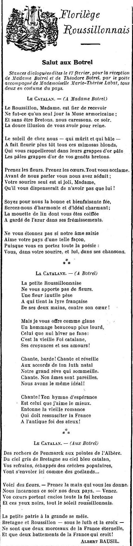 24 fevrier 1912 le cri Catalan, poésie d'Albert Bausil en hommage aux Botrel.