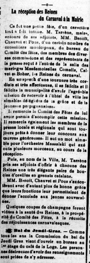 Le Roussillon  27 janvier 1910.