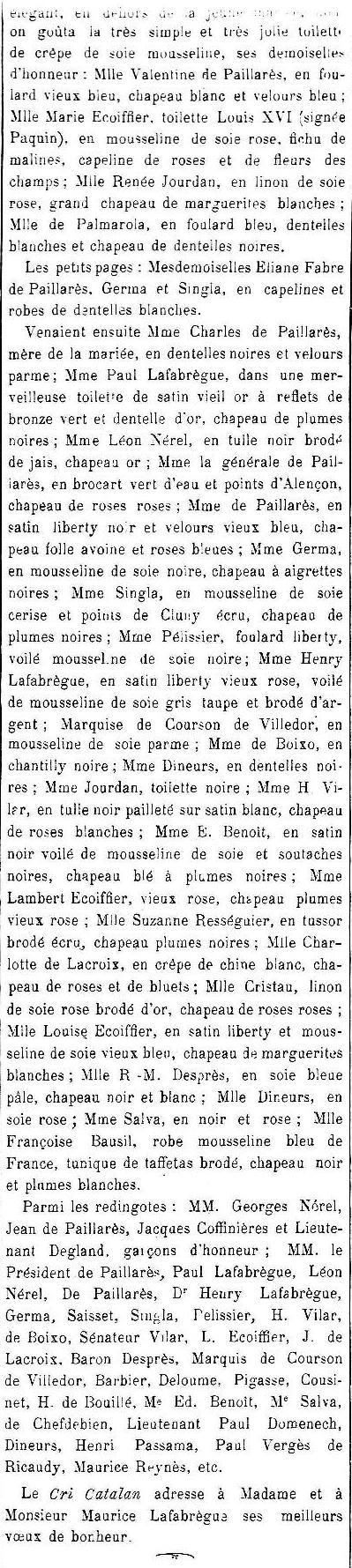 Mariage Ecoiffier de Pallares2 Le Cri Catalan 1910.