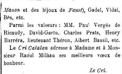 Mariage Milhau Barrera, Le Cri Catalan 1910