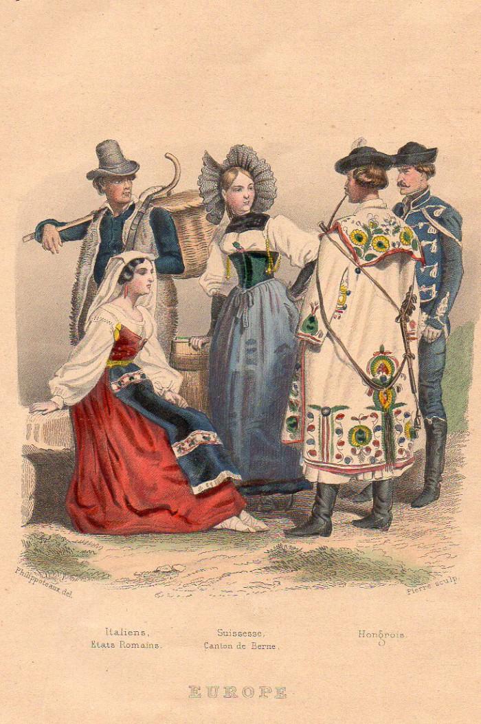 Europe en costumes traditionnels : Italiens, Suisse, Hongrois.