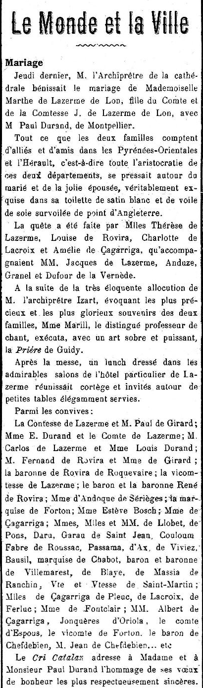 mariage Durand de Lazerme, le Cri Catalan 2 12 1911