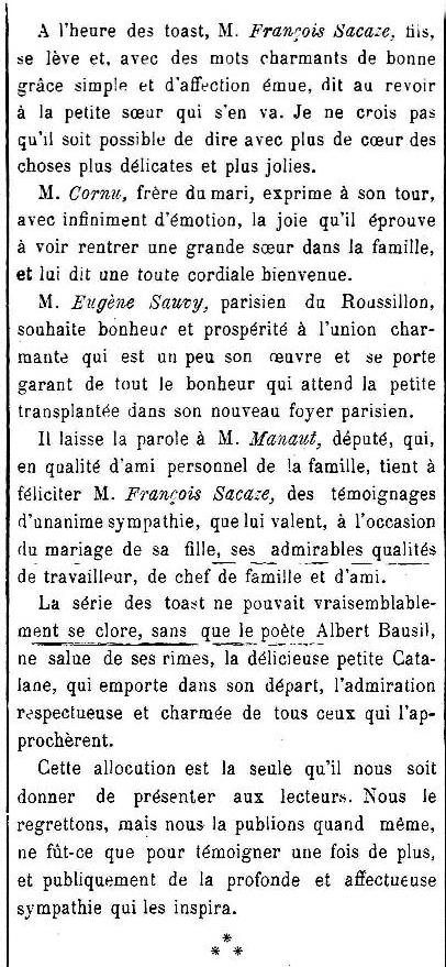 mariage Sacazze Cornu le Cri catalan 1910