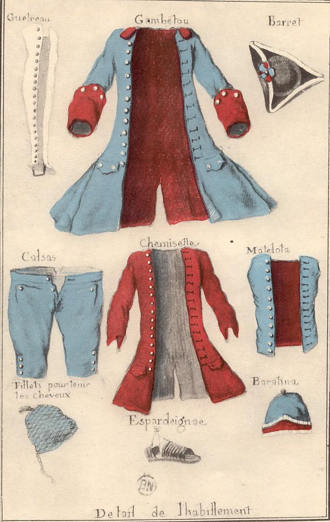 habillement du miquelet, Sérigny, 1752