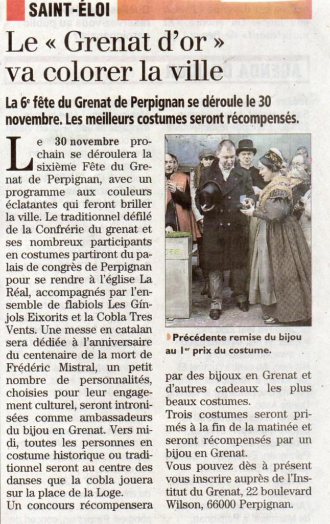 Saint Eloi 2014 Perpignan, l'Indépendant samedi 15 novembre 2014.