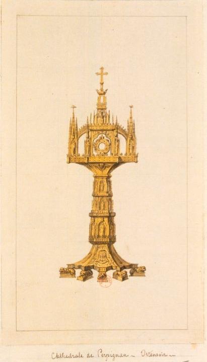 Cathédrale de Perpignan. Ostensoir : dessin de Beugnet, Jean