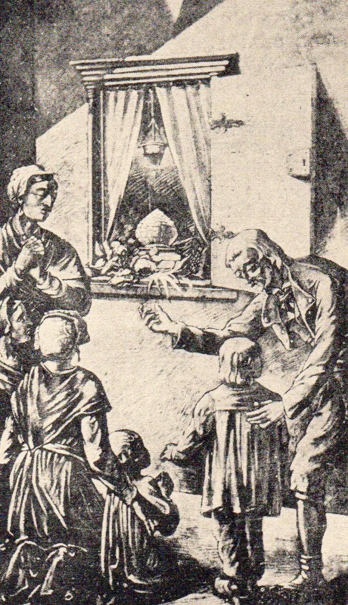 Adoration des hosties dans l'armoire murale. Adoration des hosties dans l'armoire murale.