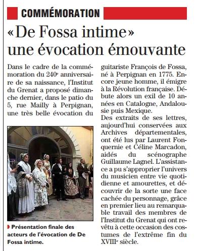 L'Indépendant dimanche 18 octobre 2015.