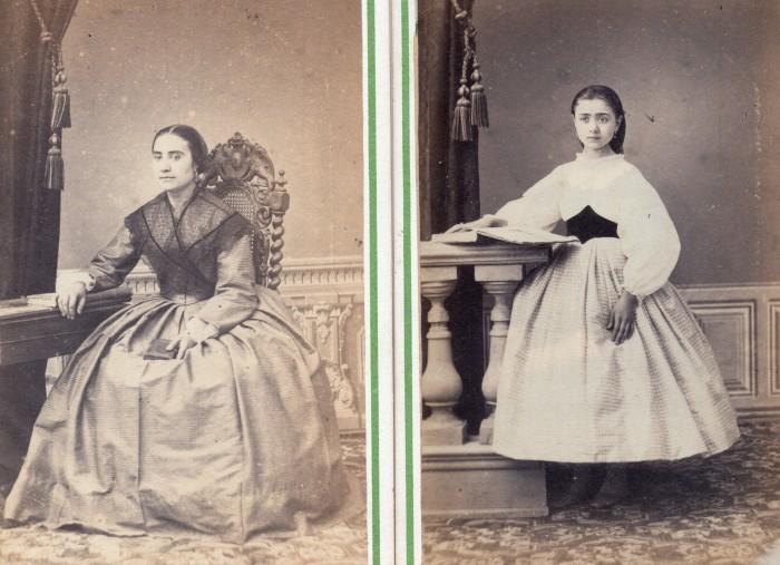 Une mère et sa fille, vers 1855-1860, Photo Cabibel Perpignan.