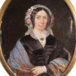 Carlo ERRANI (1804-1860). Portrait de femme au bonnet fleuri.