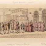 Sortie des consuls de Perpignan en place de la Loge. 1787.