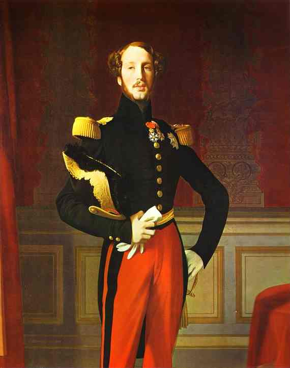 Le portrait du duc d'Orléans fut, après le passage de ce prince à Perpignan, exécuté avec les fonds d'une souscription départementale. en effet, le duc d'Orléans était très aimé en province et, avant sa mort, un comité s'était créé à Perpignan pour commander à Ingres une nouvelle réplique du portrait payé par souscription publique et intégrant les collections du musée dès 1843. 4 listes de souscription furent publiées par le journal du département des Pyrénées-Orientales dès 1842 et avaient rapporté près de 2000 ff. Le parc servant de fond est peut-être celui de Saint-Cloud puisque la 1ère copie sur fond de paysage était destinée à la manufacture de Sèvres.