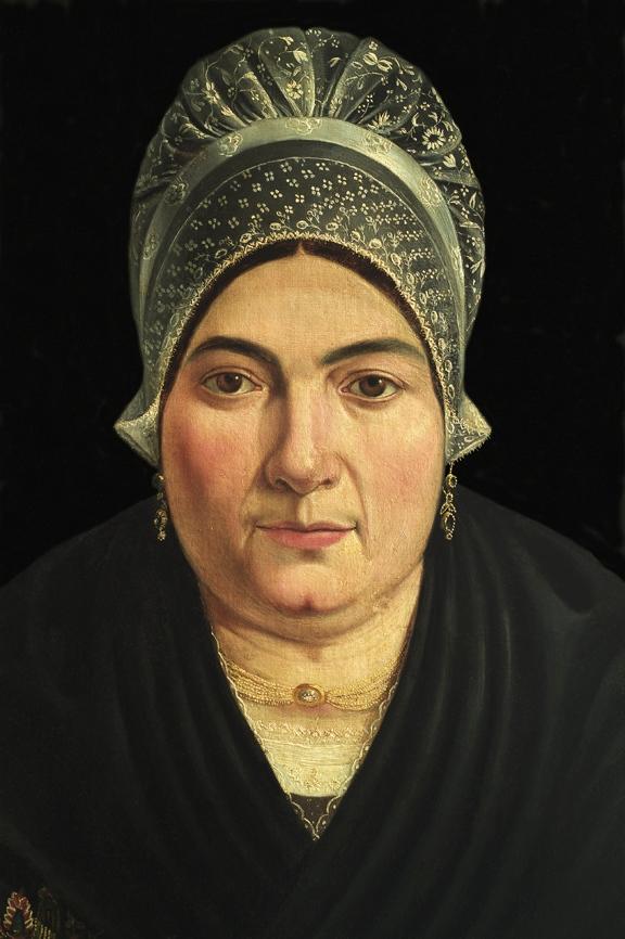 66-PyrŽnŽes orientales-Perpignan. MusŽe des Arts et Traditions Populaires de la Casa Pairal. Portrait de catalane en vtement d'apparat portant bijoux.