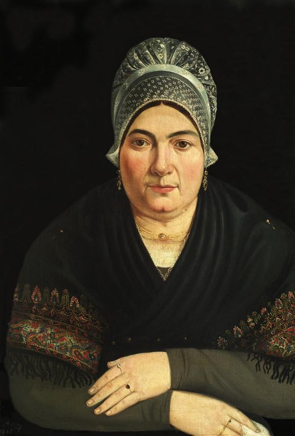 66-Pyrénées orientales-Perpignan. Musée des Arts et Traditions Populaires de la Casa Pairal. Portrait de catalane en vêtement d'apparat portant bijoux.