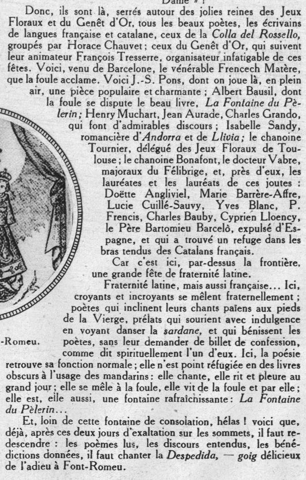 Le couronnement de la vierge de font romeu et le monde de la litt rature r gionaliste 1926 - La table des saveurs font romeu ...