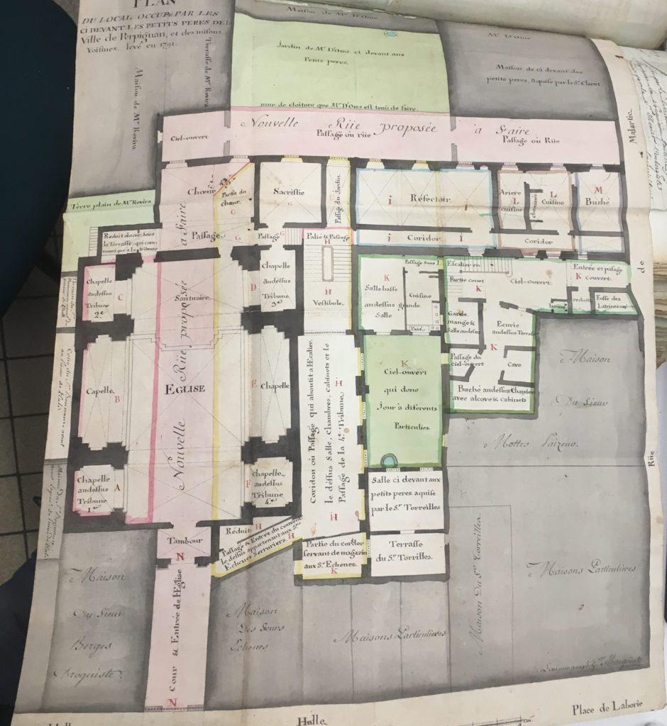Plan du couvent des Petits Pères à Perpignan, photo Sylvain Chevauché.