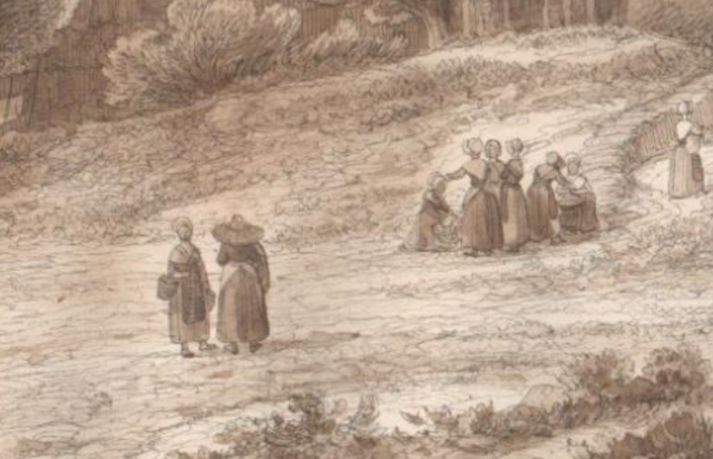 Groupe de paysannes roussillonnaises, Lluis Rigalt, vers 1850.