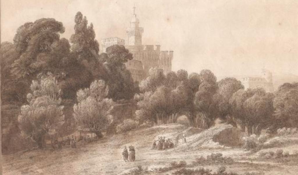 Lluis Rigalt, Vue du Castillet à Perpignan, vers 1850, coll. part.