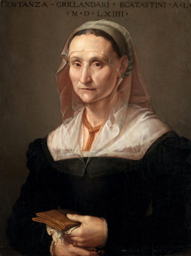 PORTRAIT DE CONSTANZA, SOEUR DU PEINTRE RIDOLFO DEL GHIRLANDAIO Huile sur panneau Daté 1564