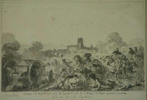 Jacques Gamelin, scène de bataille autour d'Elne, vente aux enchères à Narbonne 2011